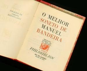 Livro. Bandeira, Manuel. O Melhor Soneto de Manuel Bandeira, separata número um da Revista A Sereia, Rio de Janeiro, Philobiblion, agosto de 1955. 6 pp.